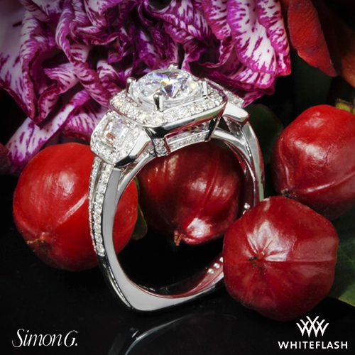 Simon G. TR446 Passion Halo Three Stone Engagement Ring