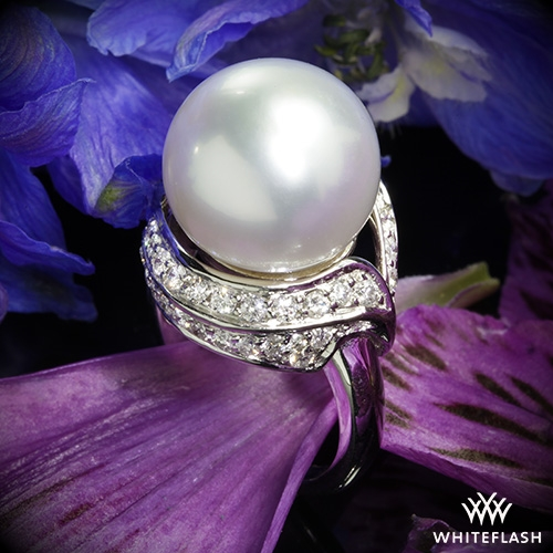 South Sea Pearl and Diamond Right Hand Ring