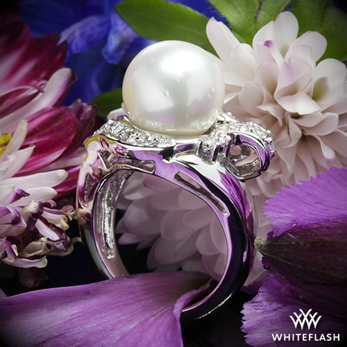 Ribbon South Sea Pearl and Diamond Right Hand Ring