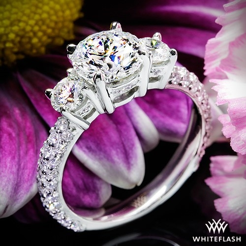 Rounded Pave 3 Stone Engagement Ring