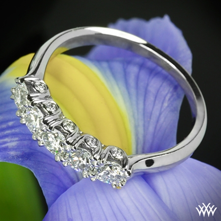 Five Stone Surprise U-Prong Diamond Wedding Ring