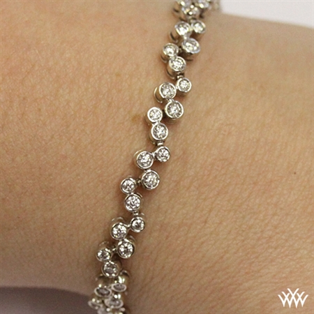 Full-Bezel Scattered Diamond Tennis Bracelet