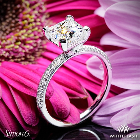 Simon G. LP1935-D Delicate Diamond Engagement Ring for Princess