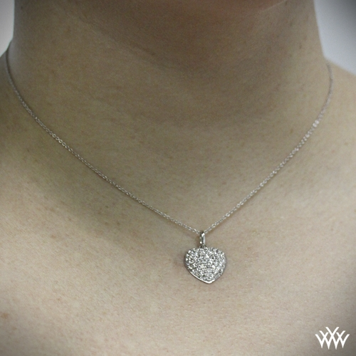 Domed Heart Pave Diamond Pendant