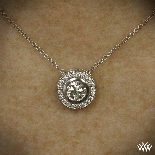 Halo bezel diamond pendant 273 on neck view aloadofball