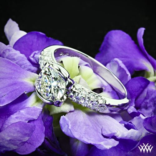 Symphony Half-Bezel Pave Diamond Engagement Ring