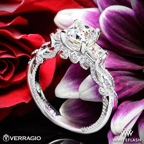 Verragio INS-7074P Beaded Braid Princess 3 Stone Engagement Ring