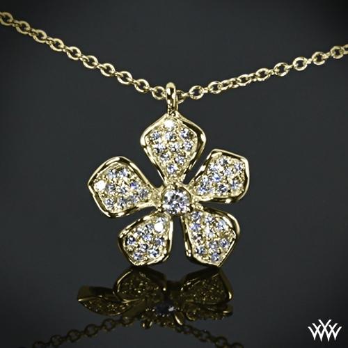 Five Leaf Flower Diamond Pendant