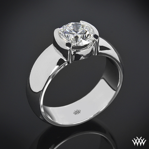 Heavy Half-Bezel Solitaire Engagement Ring