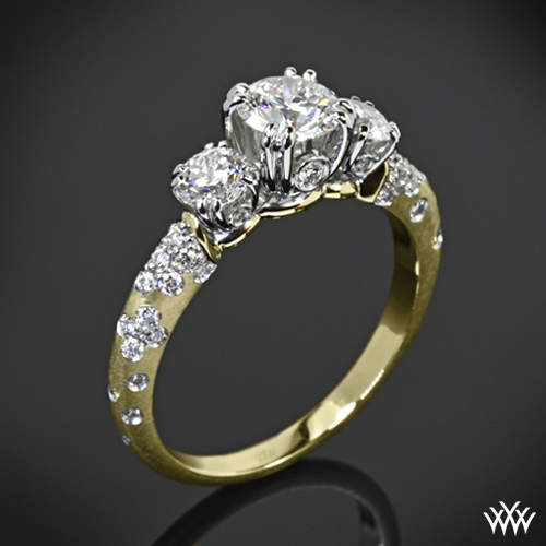 'Petite Champagne' 3 Stone Engagement Ring