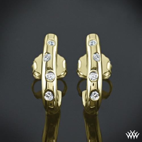 Scattered Diamond Hoop Diamond Earrings