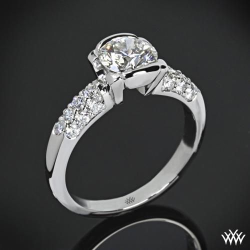 Symphony Half-Bezel Pave Diamond Engagement Ring