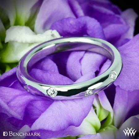 Whiteflash 3mm 14K White Gold Benchmark Scattered Diamond Wedding Band