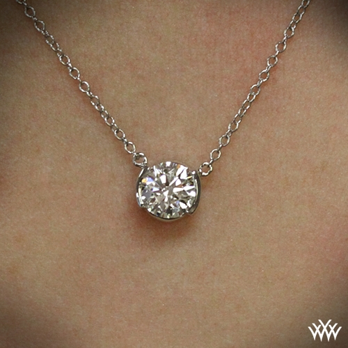 Half bezel diamond pendant ready set to go 148 zoomed on neck view aloadofball Choice Image