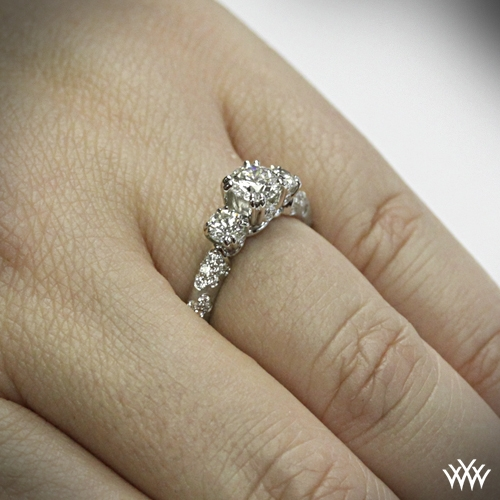 on hand view style photo petite 3 stone champagne diamond engagement ring ring video - Three Stone Wedding Rings