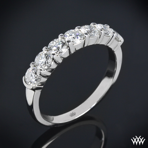 Seven Stone Shared-Prong Diamond Wedding Ring