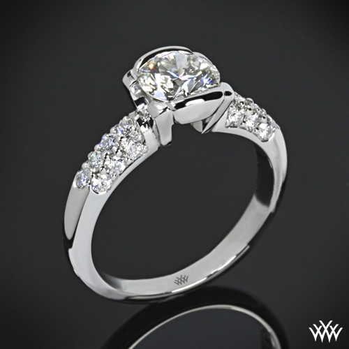 """Symphony Half-Bezel Pave"" Diamond Engagement Ring"