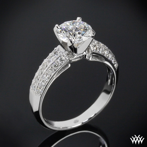 """Three Row Pave"" Diamond Engagement Ring"