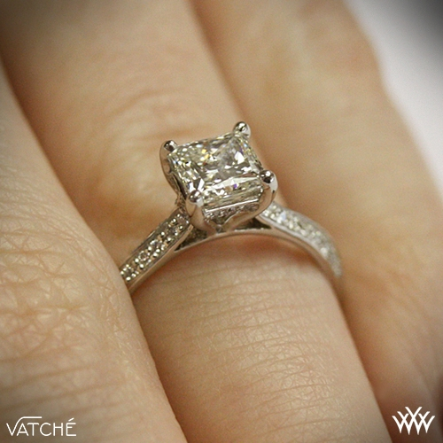 Caroline Pave Diamond Engagement Ring For Princess Cut