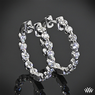 Single Shared-Prong Diamond Eternity Hoop Earrings