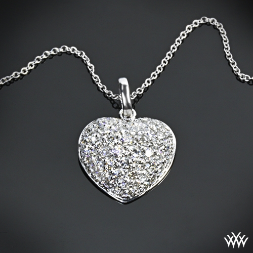 Domed heart pave diamond pendant 340 zoomed view aloadofball Images