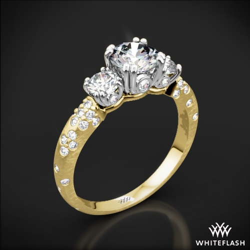 Petite 3 Stone Champagne Diamond Engagement Ring 576