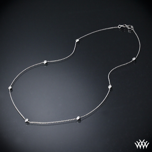 Whiteflash by the yard diamond necklace 449 on neck view real photo mozeypictures Gallery