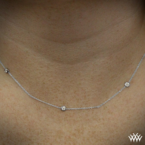 Whiteflash by the yard diamond necklace 449 zoomed on neck view aloadofball Gallery