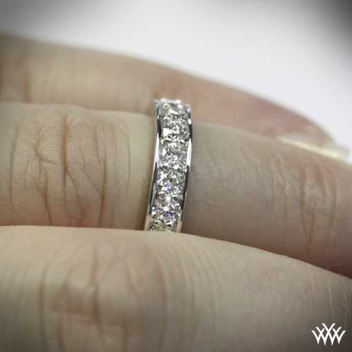 Tiffany Style Bead Set Diamond Wedding Band