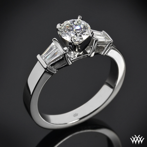 3 Stone Engagement Ring With Baguettes And Classic Head 761