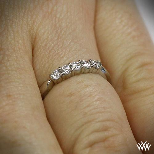 five stone shared prong diamond wedding band 813