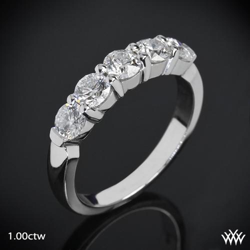 Five Stone Shared-Prong Diamond Wedding Ring