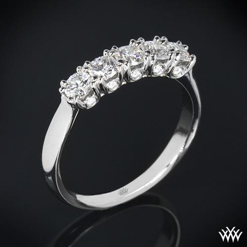 Five Stone Surprise U-Prong Diamond Wedding Ring