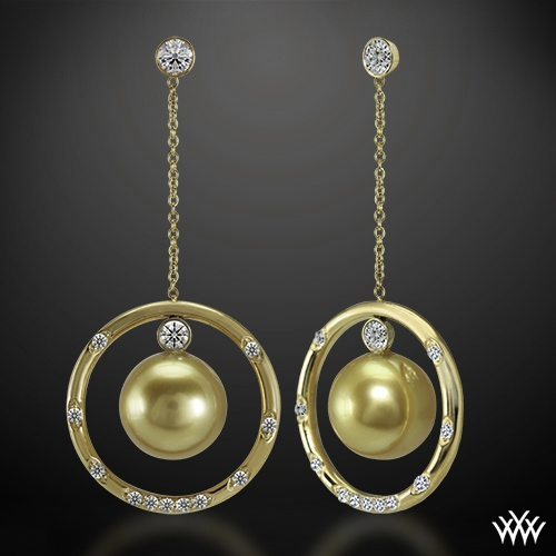 Golden Pearl and Champagne Diamond Earrings