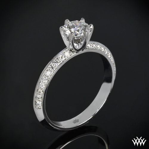 """Knife-Edge Pave"" Diamond Engagement Ring"
