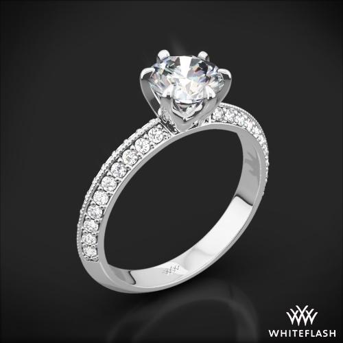 Knife-Edge Pave Diamond Engagement Ring