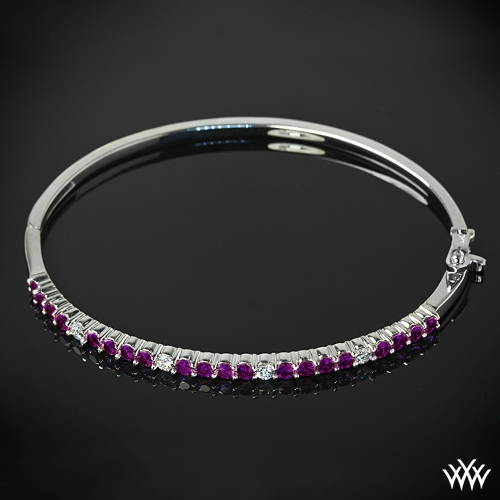 'Multicolored Shared-Prong' Diamond Bangle