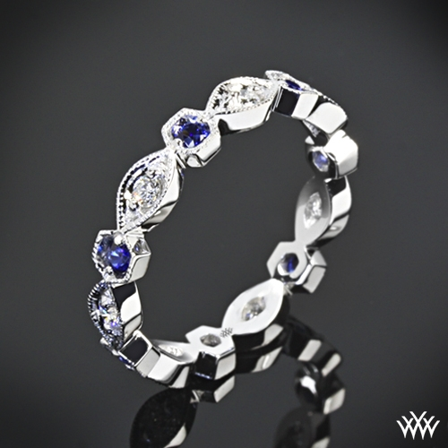 'Odyssey' Diamond and Blue Sapphire Right Hand Ring