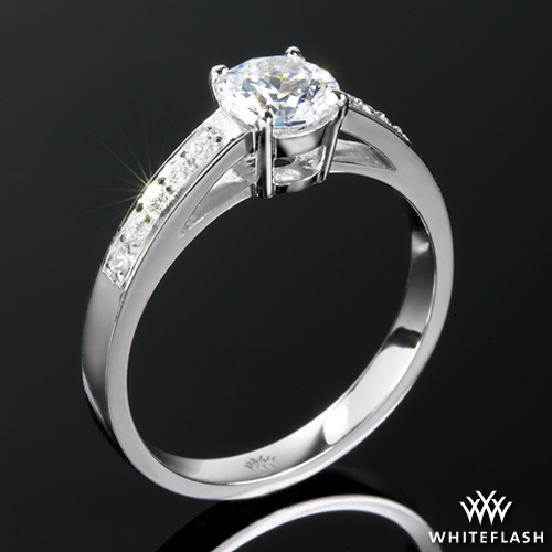 """Rounded Open Cathedral"" Diamond Engagement Ring Ring Real photo"