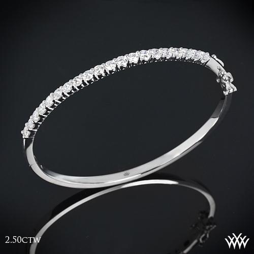 Shared-Prong Diamond Bangle