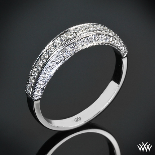 three sided pave wedding band 737
