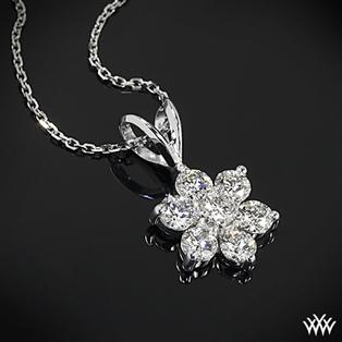 Diamond pendants buy pendant and necklace online at whiteflash flower cluster diamond pendant aloadofball Images