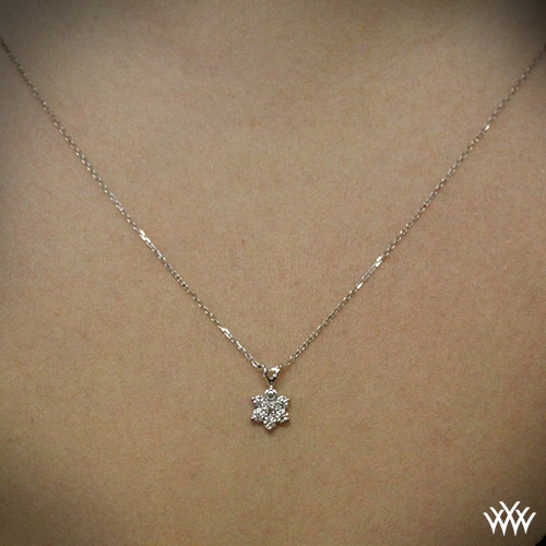 Flower cluster diamond pendant 718 zoomed on neck view aloadofball Images