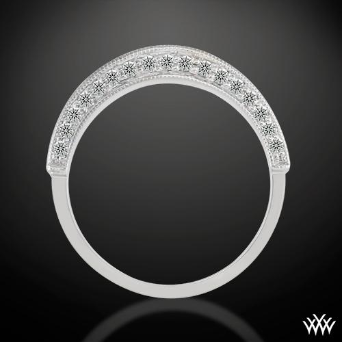 ThreeSided Pave Diamond Wedding Band 736