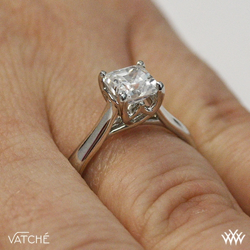 4b42f9a148fc16 ... On hand view. Style photo. Royal Crown Solitaire Engagement Ring for Princess  Cut Diamonds by Vatche ...