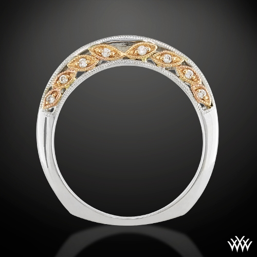 Delicate Blush Filigree Diamond Wedding Band