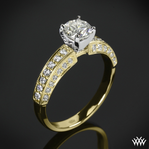 Three-Side Pave Diamond Engagement Ring