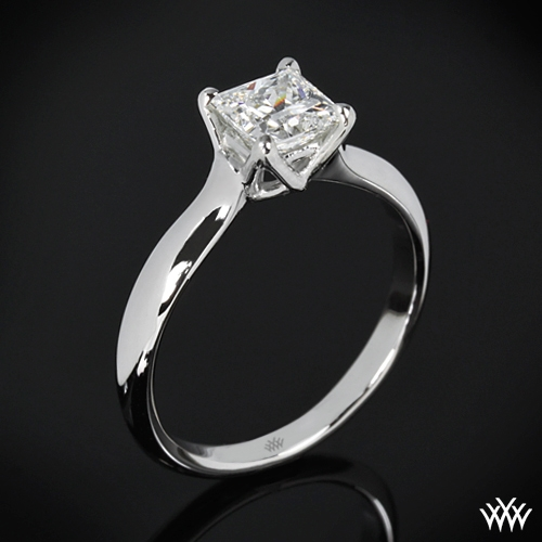 """W-Prong"" Solitaire Engagement Ring for Princess Cut Diamonds"