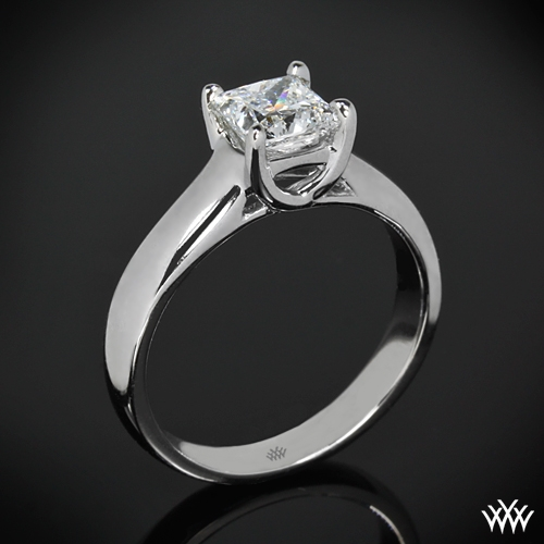 """X-Prong"" Solitaire Engagement Ring for Princess Cut Diamonds"