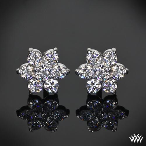 1 00ctw 14k White Gold Flower Cer Diamond Earrings Meas 8 75mm